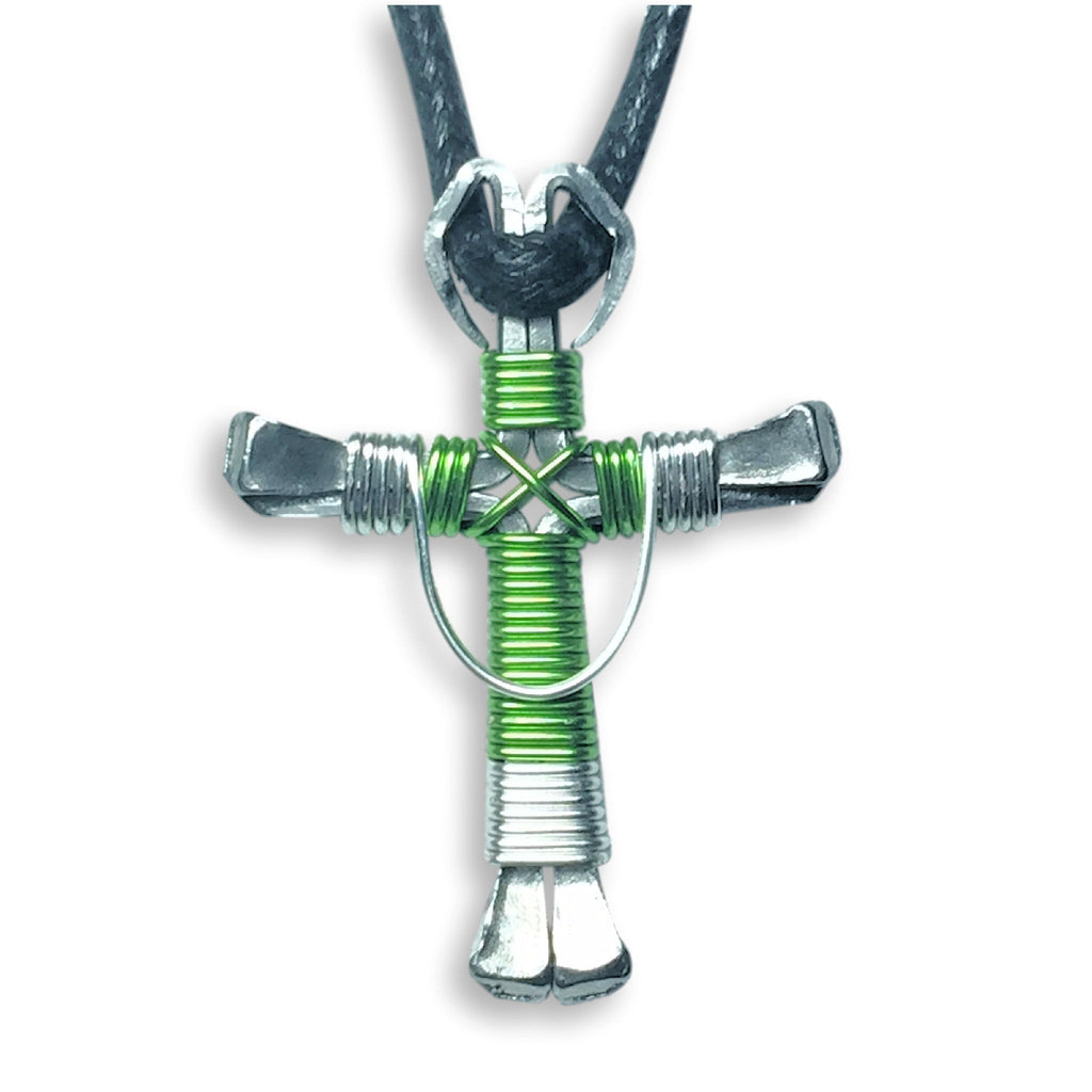 Swag Lime & Silver Horseshoe Nail Cross Necklace