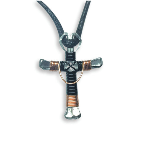 Swag Black & Copper Horseshoe Nail Cross Necklace