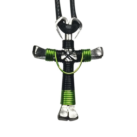Swag Black & Lime Horseshoe Nail Cross Necklace