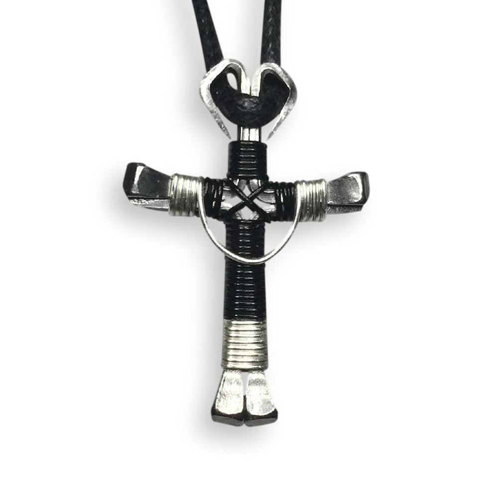 Swag Black & Silver Horseshoe Nail Cross Necklace