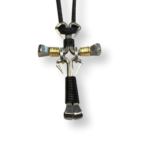 Dangle Black & Gold Horseshoe Nail Cross Necklace