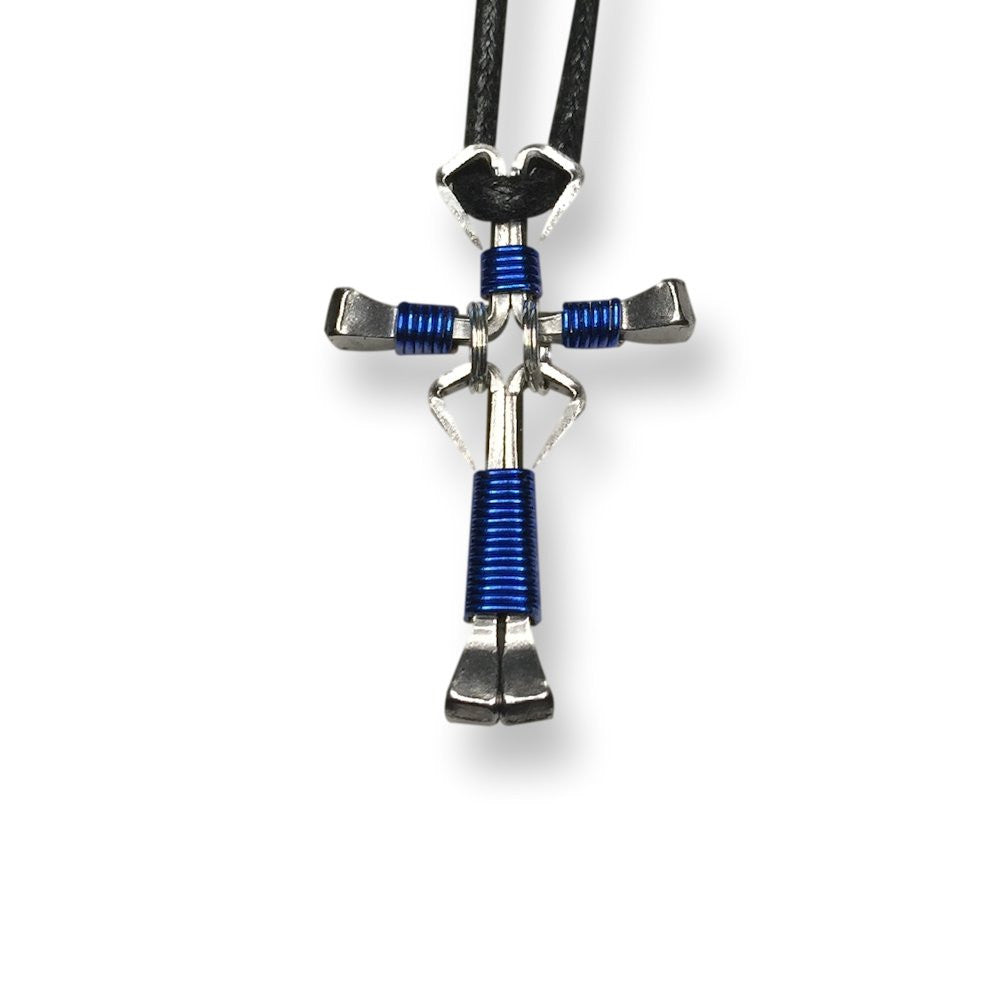 Dangle Blue Horseshoe Nail Cross Necklace