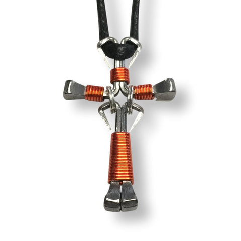 Dangle Orange Horseshoe Nail Cross Necklace