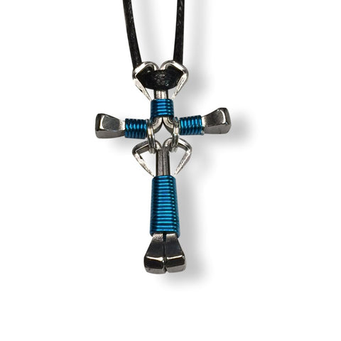 Dangle Peacock Blue Horseshoe Nail Cross Necklace
