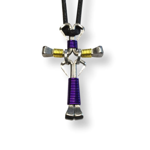 Dangle Purple & Yellow Horseshoe Nail Cross Necklace
