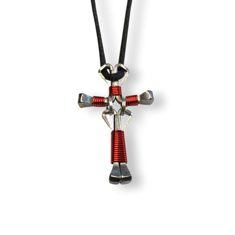 Dangle Red Horseshoe Nail Cross Necklace