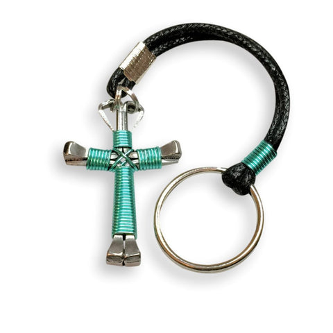 Seafoam Green Horseshoe Nail Cross Key Chain