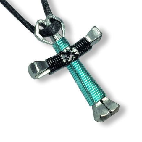 Seafoam Green & Black Horseshoe Nail Cross Necklace