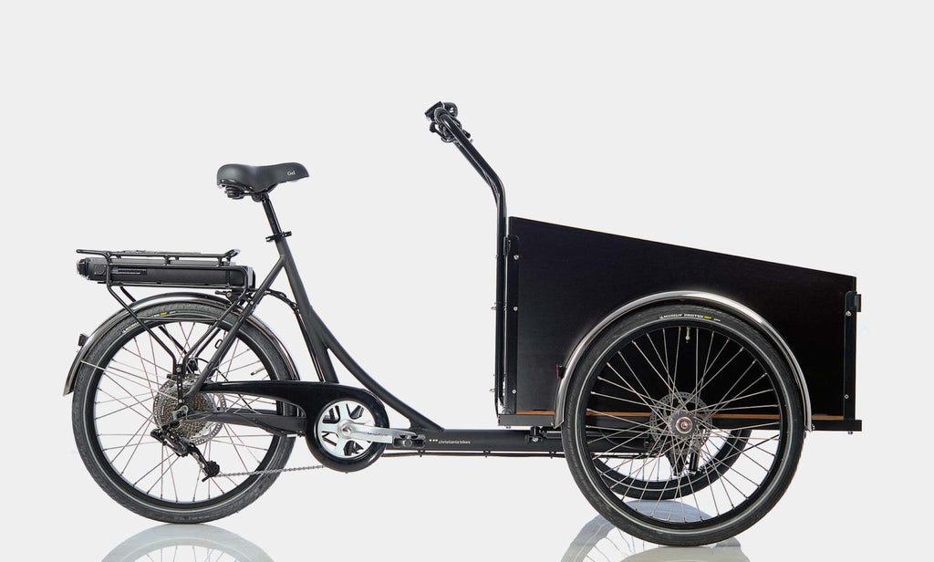 Black Christiania Model Light Cargo Bike with Electronic Assist Hub Motor