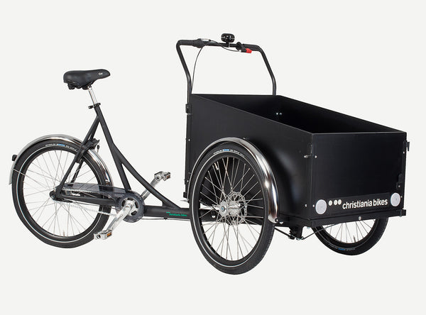 3 wheel Cargo bike/trike with box and two wheels in front. Frame is black painted aluminum and marine plywood box is painted with black gloss enamel