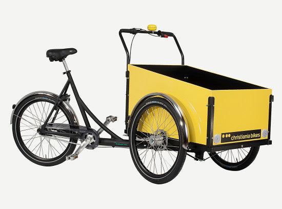 3 wheel Cargo bike/trike with box and two wheels in front. Frame is black painted aluminum and marine plywood box is painted with yellow gloss enamel