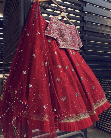 blouse red silk lehenga zardosi