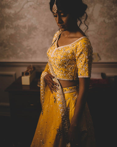 Mustard Raw Silk Bridal Lehenga Set