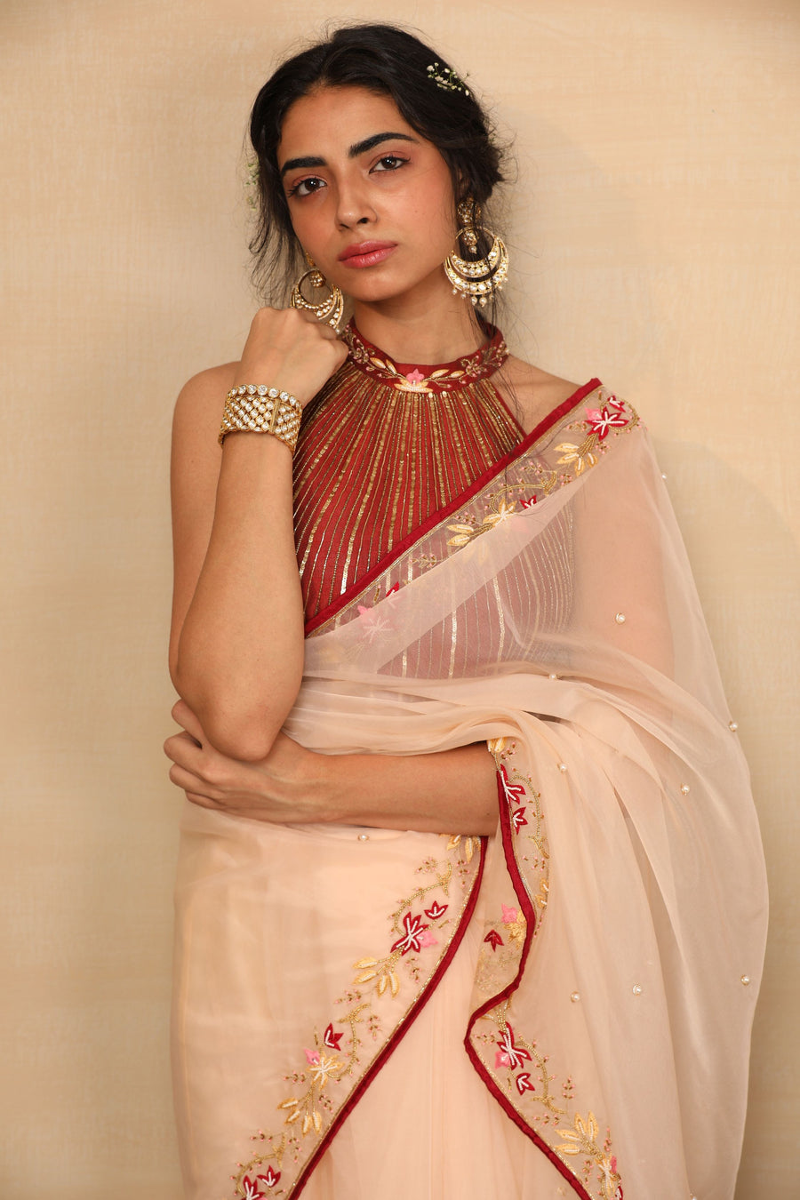 RUHI Peach Saree with Maroon Halter Blouse - Sale Piece Ready to Ship