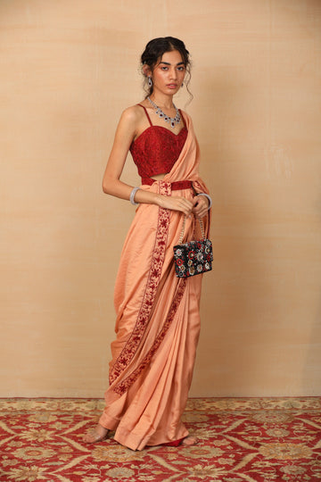 GABA Peach Saree with belted blouse