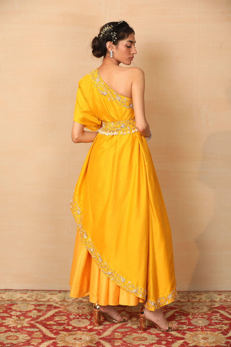 AMBER Mustard one shoulder Gown