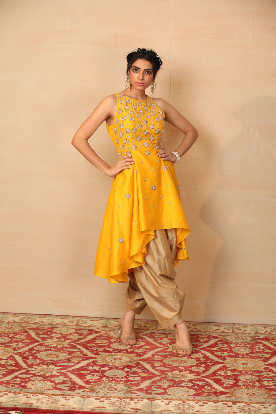 MELLOW Mustard High Low kurta with Afghani Pants