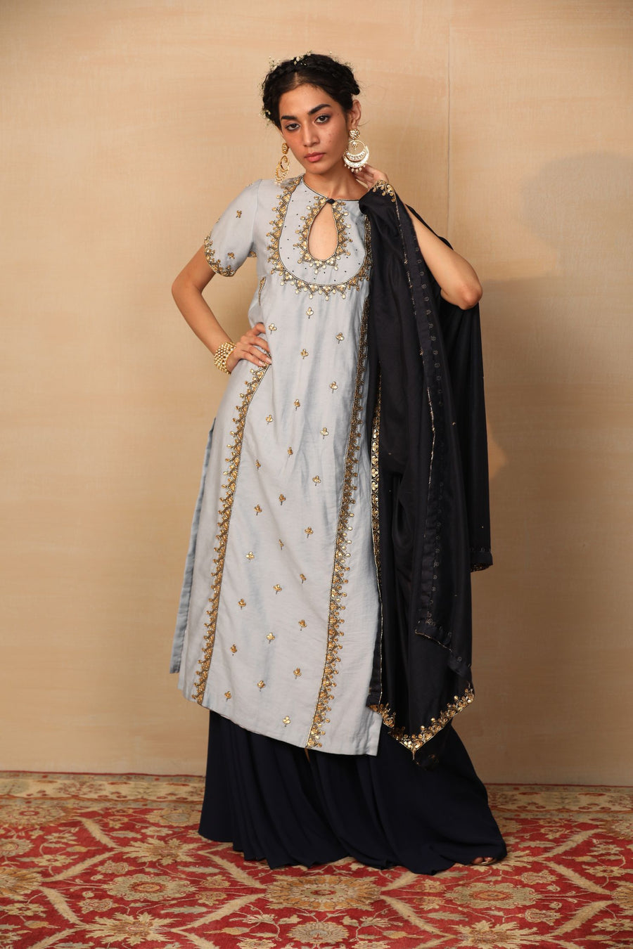 SYNDHYA Powder Blue Flared Kurta with Palazzo - Sale Piece Ready to Ship