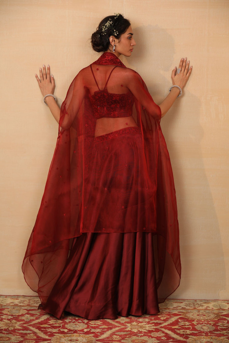 ALVIRA Maroon Lehenga with cape