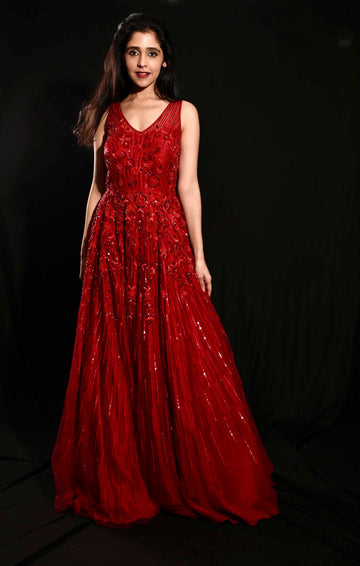 Ruby Red Anarkali Gown