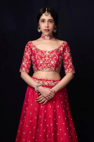 Currant Red Feather Lehenga - WaliaJones