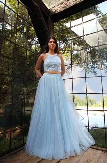 Powder Blue Bustier & Tulle Skirt
