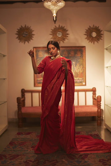 Menaka Red Double Layer Saree - WaliaJones