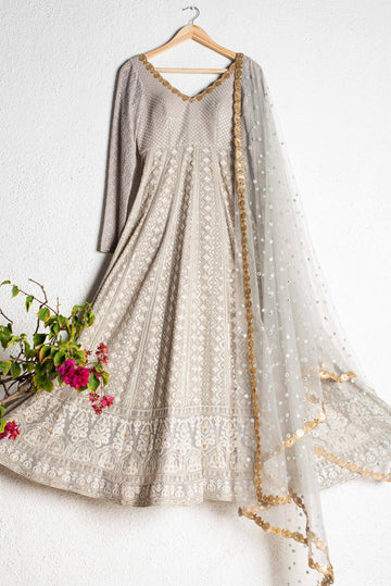 Gloudy Grey Threadwork Anarkali Set - WaliaJones