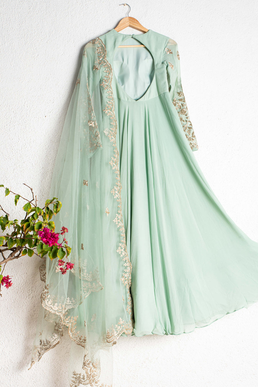 Himalayan Mint Green Anarkali Set - WaliaJones