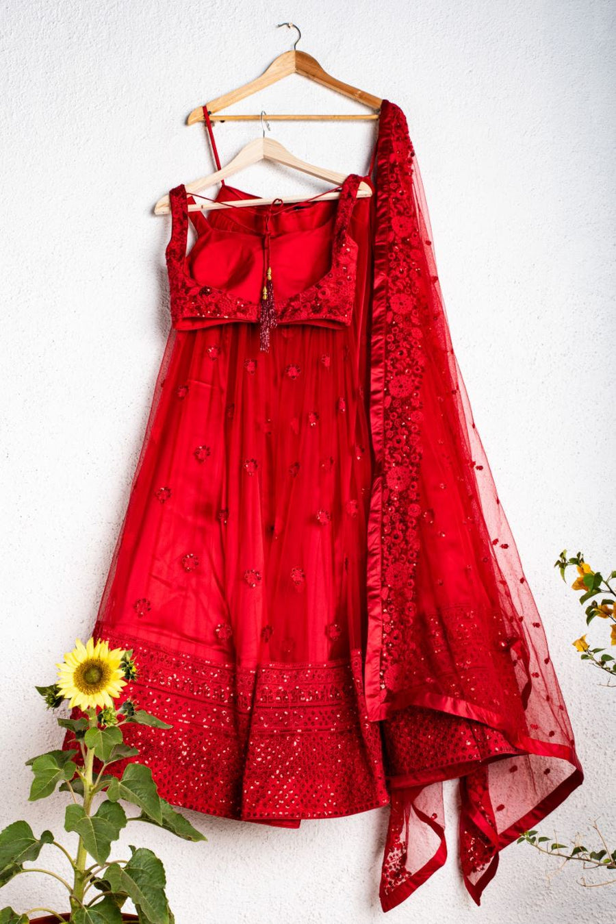 STRAWBERRY RED EMBROIDERED  LEHENGA SET