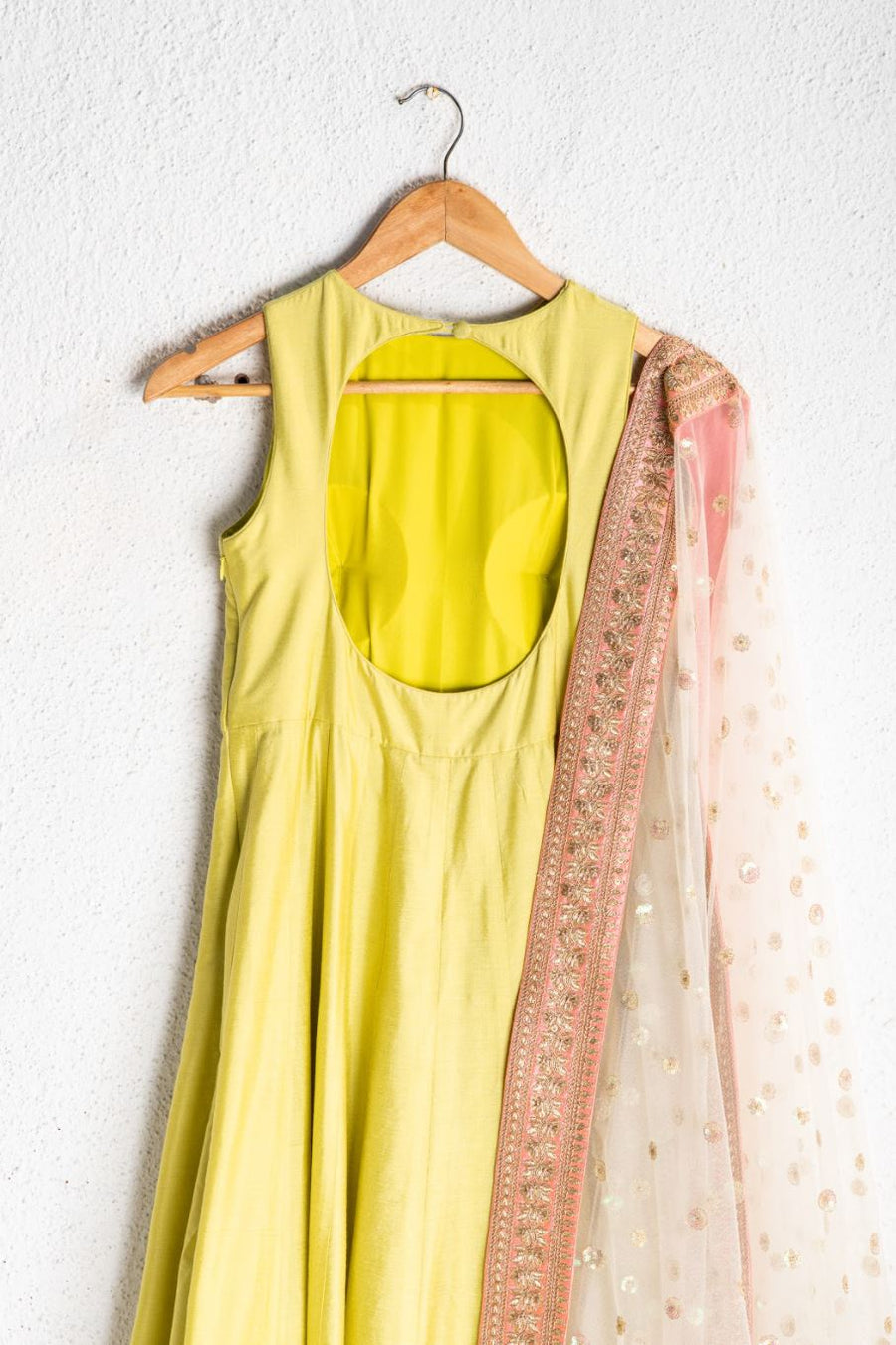 CHARTEUSE GREEN ANARKALI WITH OFFWHITE RAINBOW SEQUENCE DUPATTA WITH PEACH BORDER