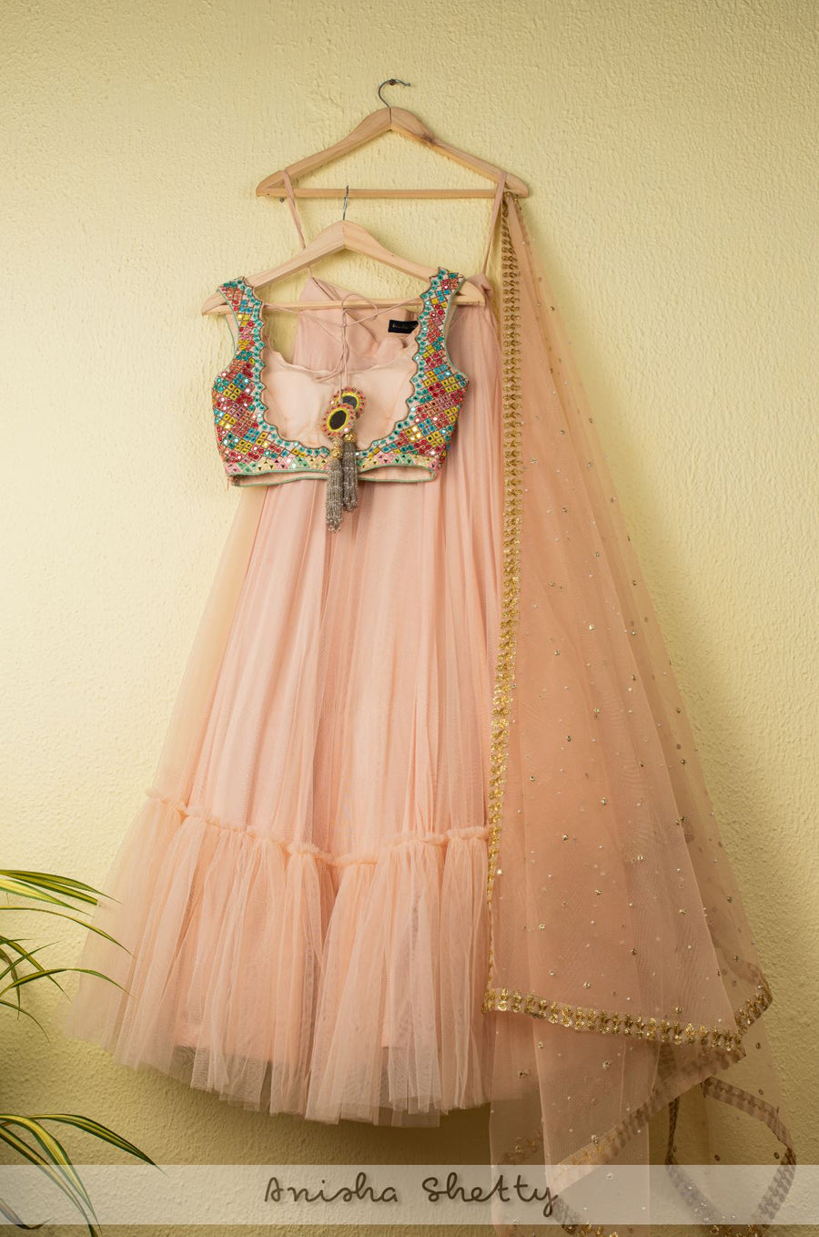 SALMON PINK TIERED LEHENGA WITH MULTICOLOR MIRROR BLOUSE & SALMON PINK DUPATTA