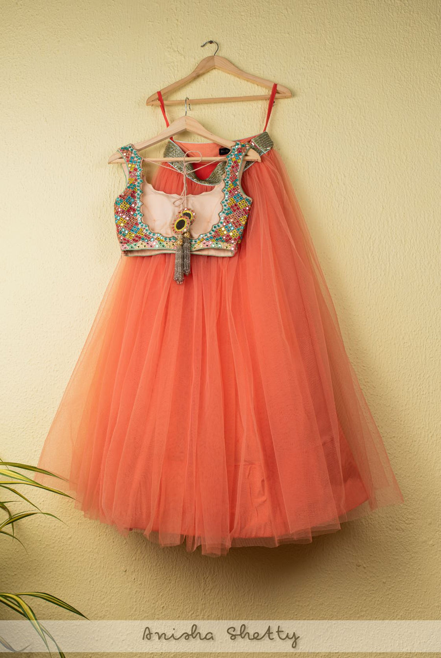 CORAL TULLE LEHENGA WITH MULTICOLOR MIRROR BLOUSE