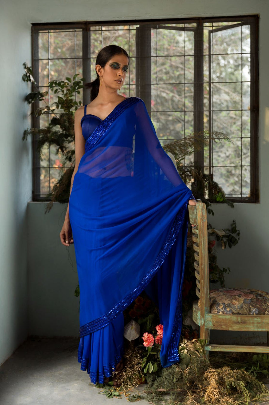 Blue Anamika Saree