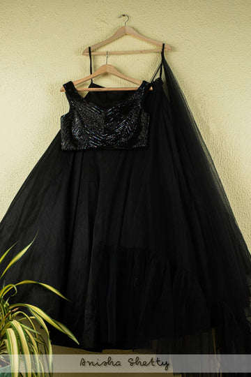 JADE BLACK LEHENGA WITH SEQUENCE BLOUSE AND FRILL DUPATTA - Ready to Ship