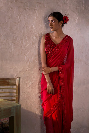 Red Anamika Saree