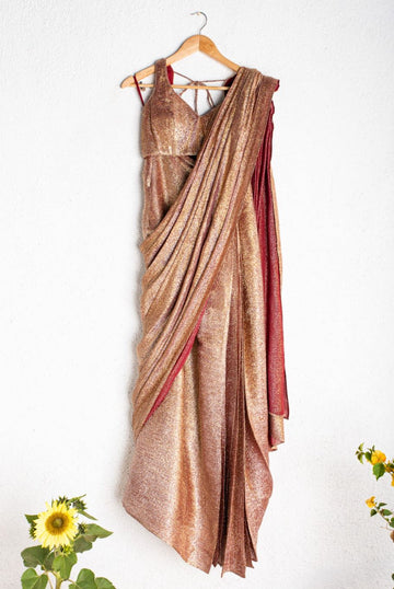 SHIMMER MAROON & GOLD PRESTITCHED SAREE WITH SAME BLOUSE