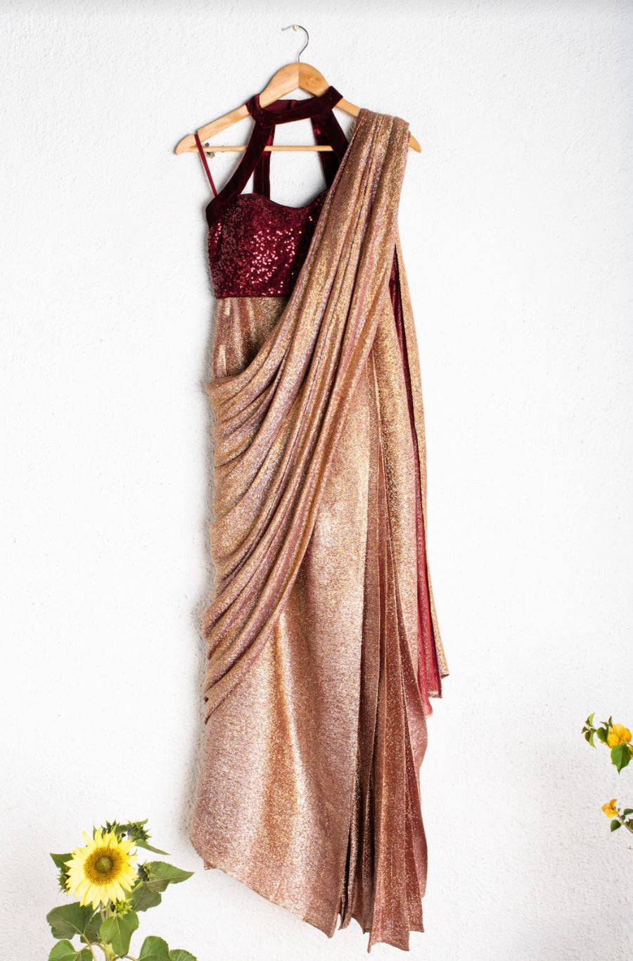 SHIMMER MAROON & GOLD PRESTITCHED SAREE WITH MAROON SEQUENCE BLOUSE