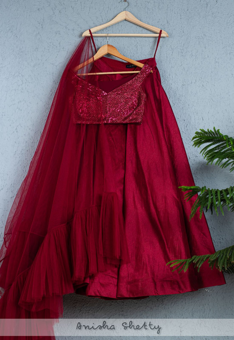 SANGRIA LEHENGA WITH SEQUENCE BLOUSE AND FRILL DUPATTA