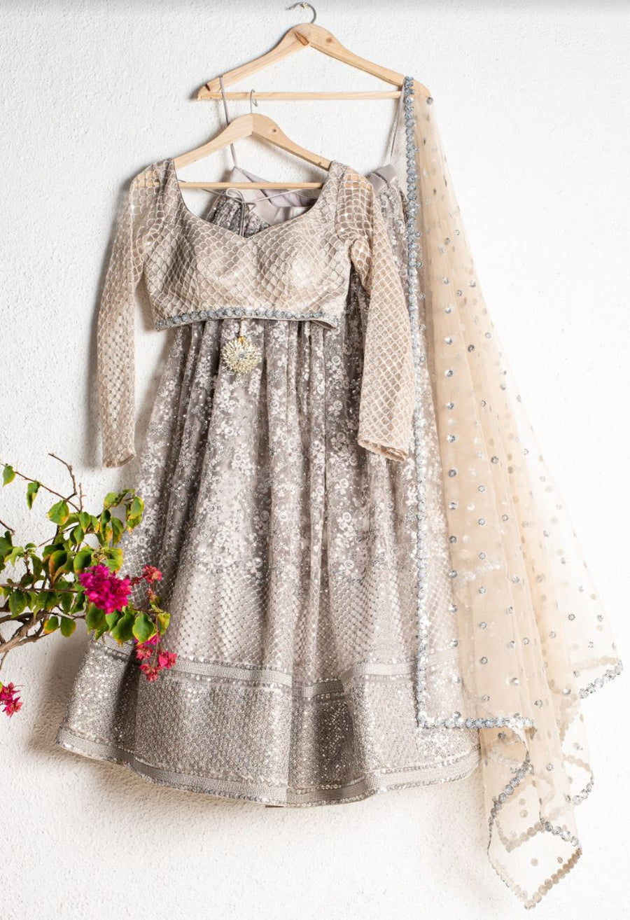 SILVER GREY EMBROIDERED LEHENGA SET