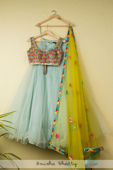 AQUA SKY BLUE NET TULLE LEHENGA WITH MULTI COLOR MIRROR LEHENGA WITH YELLOW DUPATTA