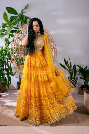 CLASSIC YELLOW EMBROIDERED THREADWORK LEHENGA WITH ABLA & SEQUENCE BLOUSE