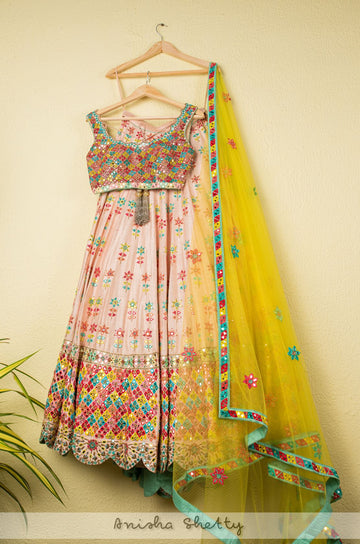 MULTICOLOR MIRRORWORK LEHENGA SET