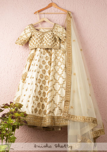 IVORY LUSTER MULTIPANEL EMBROIDERED BRIDAL LEHENGA SET