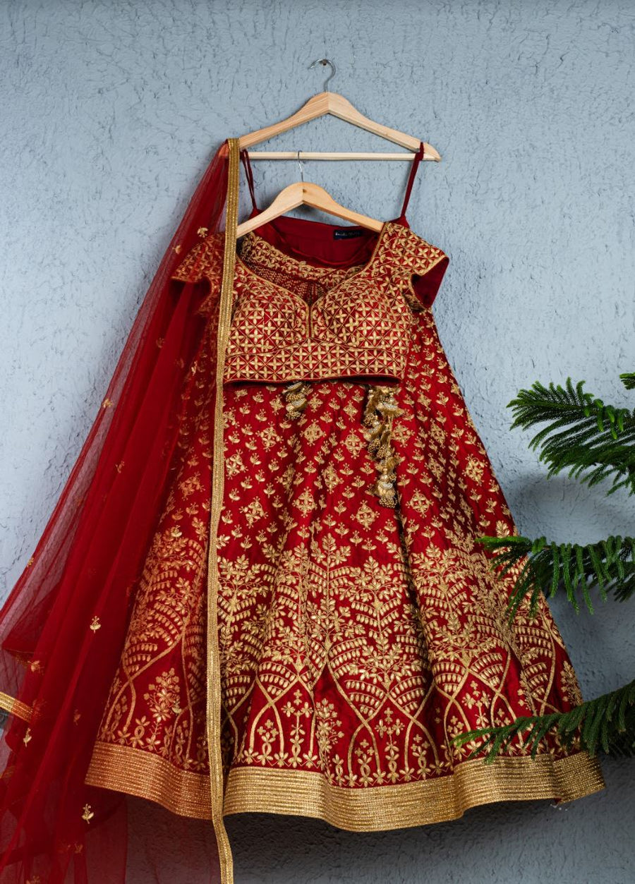 DEEP RED GOTA PATTI BRIDAL LEHENGA