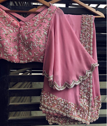 Pink Embroidered Saree - WaliaJones