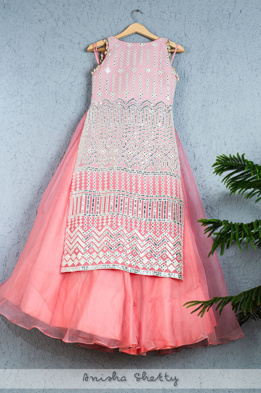 FLAMINGO PINK ORGANZA LEHENGA WITH LONG LEATHER APPLIQUE KURTA JACKET