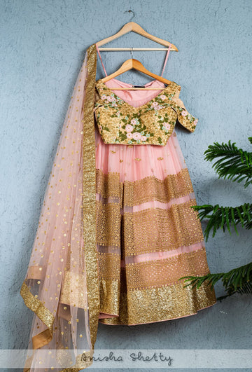 PINK & GOLD LEHENGA WITH OYSTER FLORAL BLOUSE & PINK DUPATTA