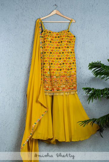 MUSTARD YELLOW WITH COLORFUL THREADWORK SHARARA SET