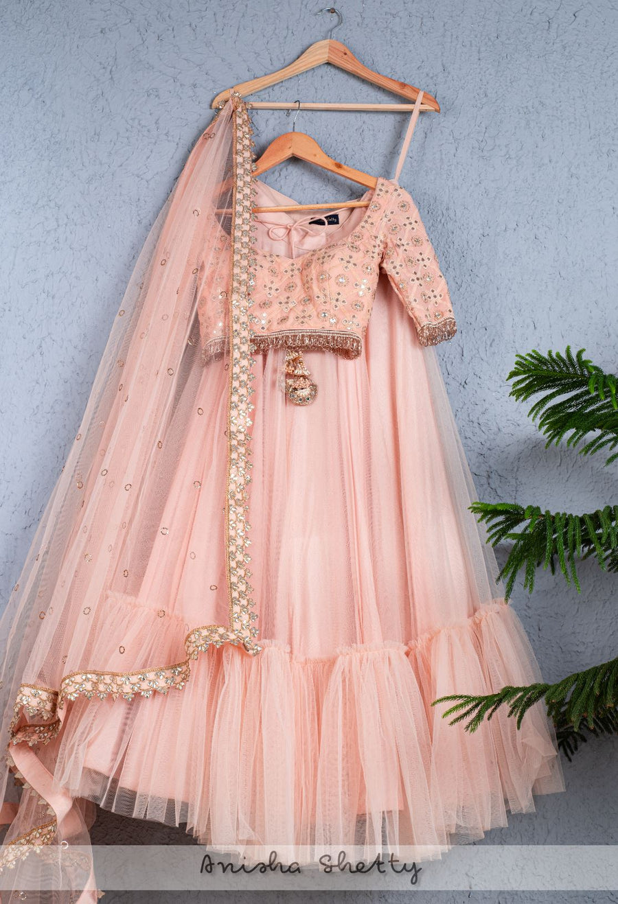 SALMON PINK GOTA BLOUSE WITH SALMON PINK TIERED LEHENGA & DUPATTA